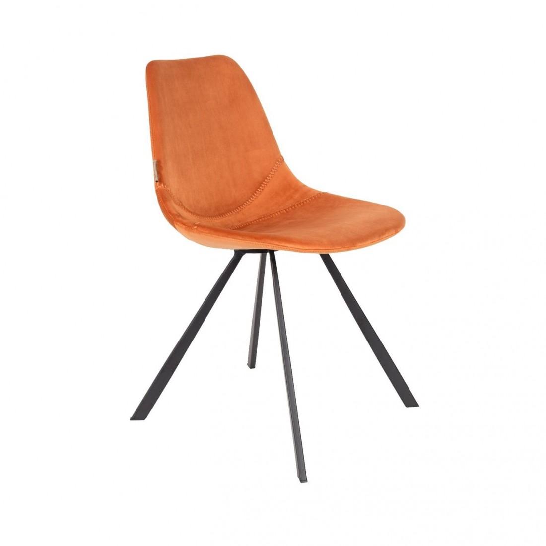 Chaise en velours Franky Orange - Dutchbone