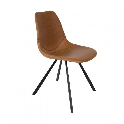 Chaise Franky finition cuir marron - Dutchbone
