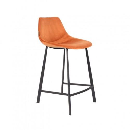 Tabouret de bar Franky en velours Orange - Dutchbone