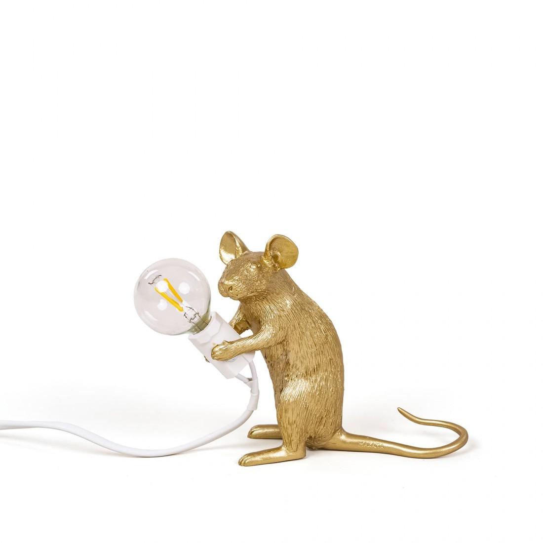 Lampe à poser Mouse Souris Gold Sitting Seletti