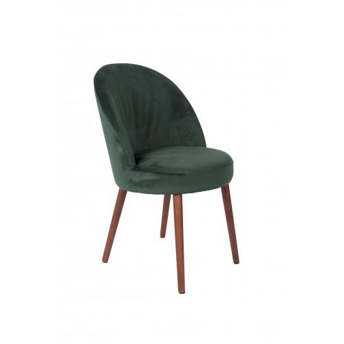Chaise en velours Vert Barbara - Dutchbone
