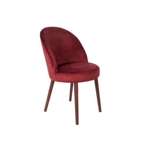 Chaise en velours Rouge Barbara - Dutchbone