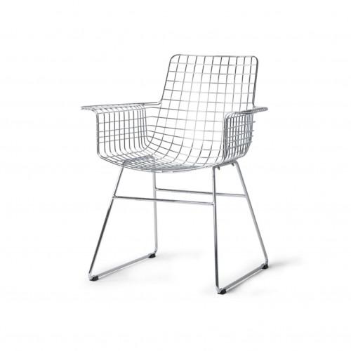 Chaise en métal avec accoudoirs - HK Living
