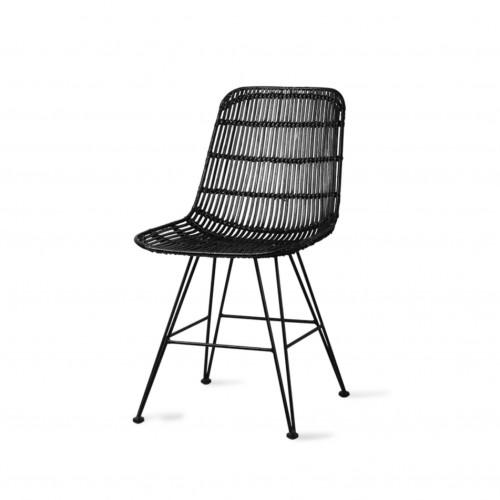 Chaise en rotin noir - HK Living