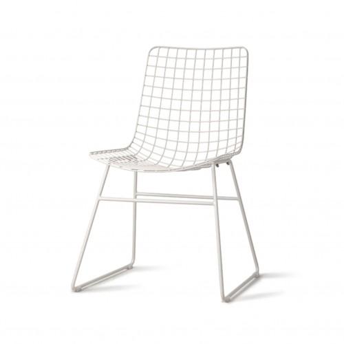 Chaise en Métal Blanche sans accoudoirs - HK Living