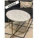 Table d'appoint Marbre Blanc et laiton- TIMPA WLabel Edition - 2nde Main